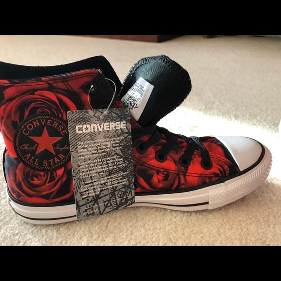 c9147c61e679 Converse Hi Top   Satin Rose   Red   Black